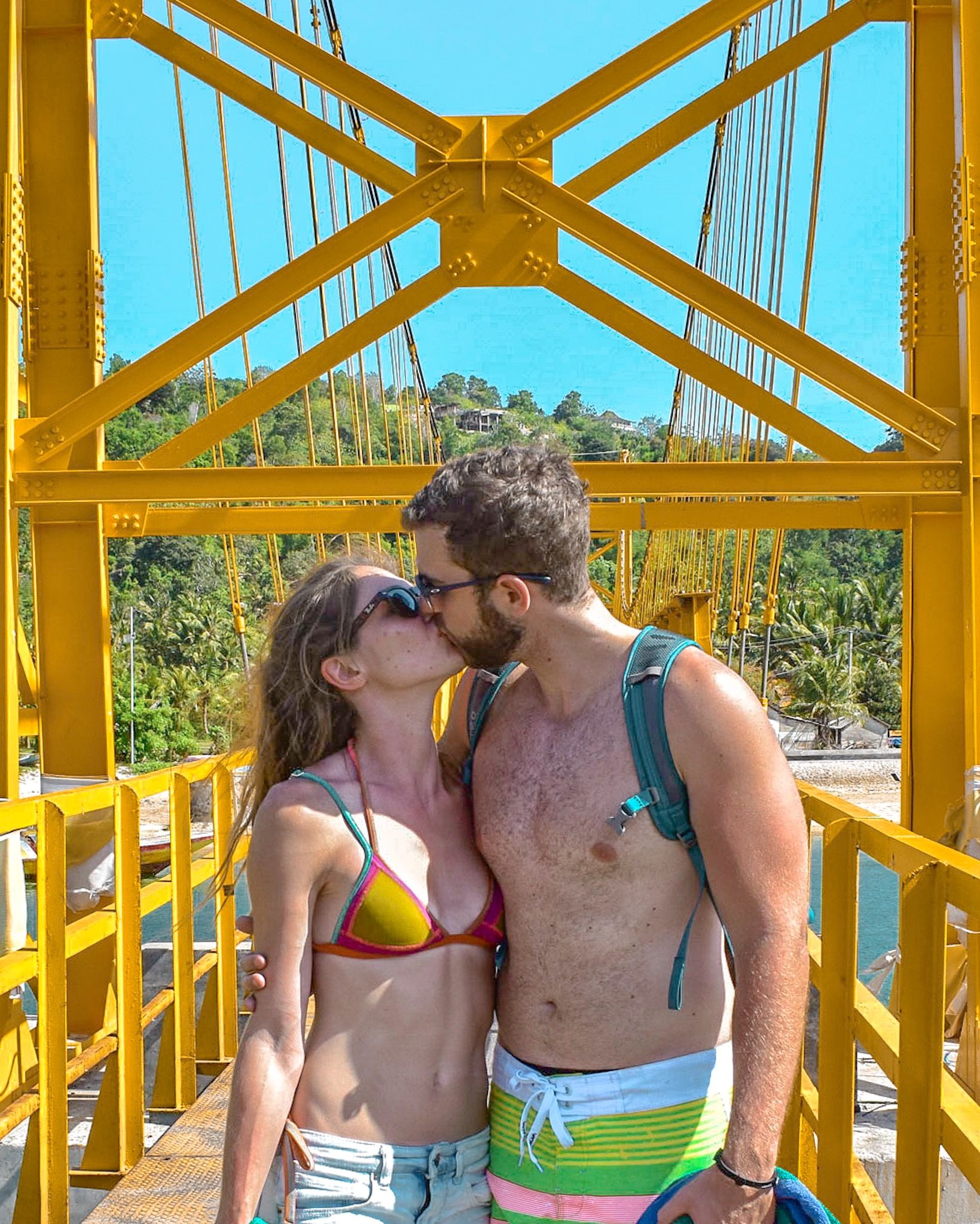 Honeymooners on Yellow Bridge in Lombok Indonesia