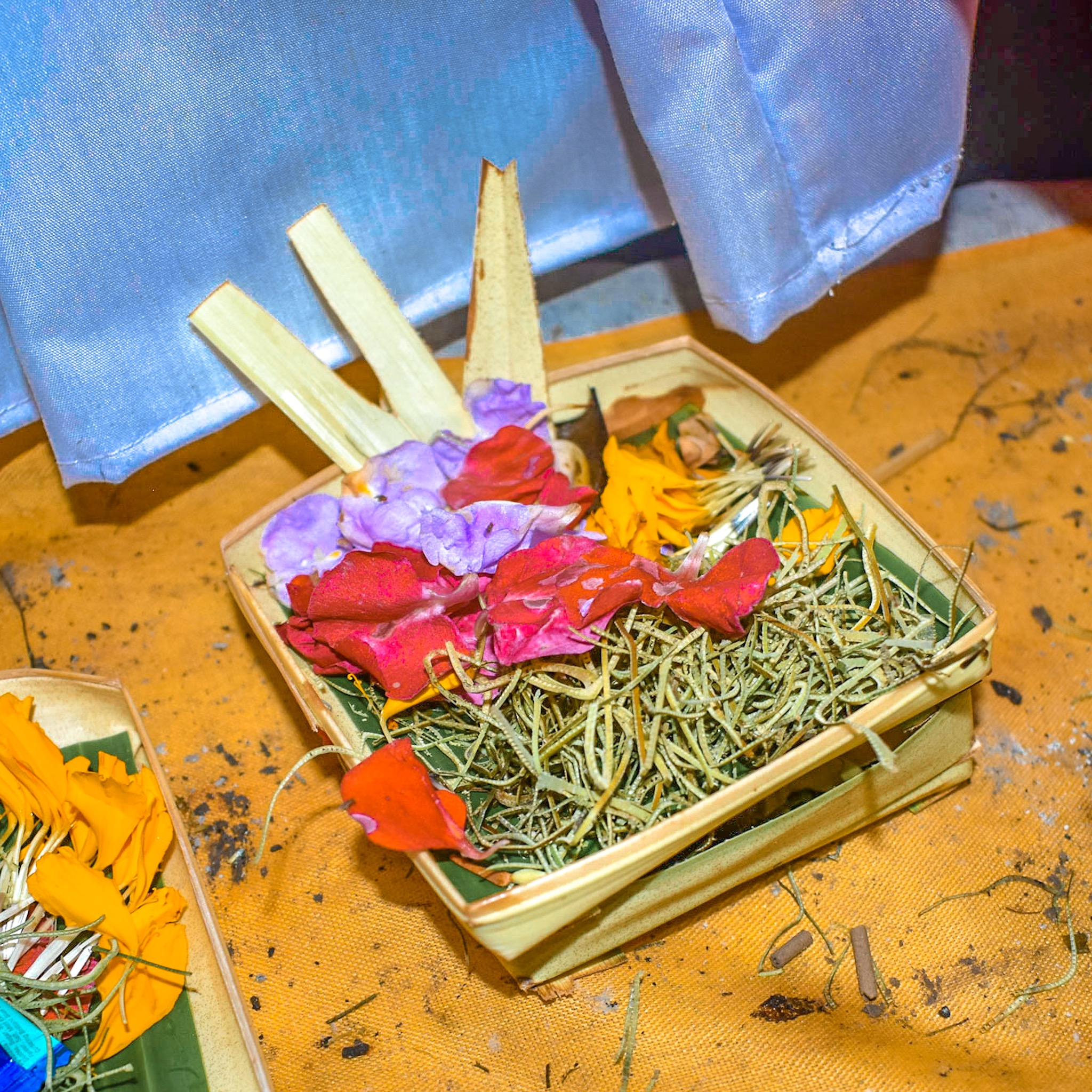 Offerings for Galungan Day at the Elephant Cave Temple in Bali
