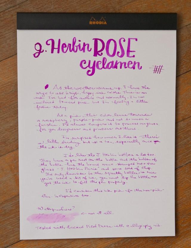 J. Herbin Rose Cyclamen Ink writing sample