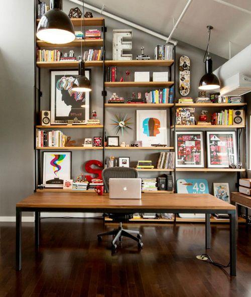 Bookshelves and framed artwork