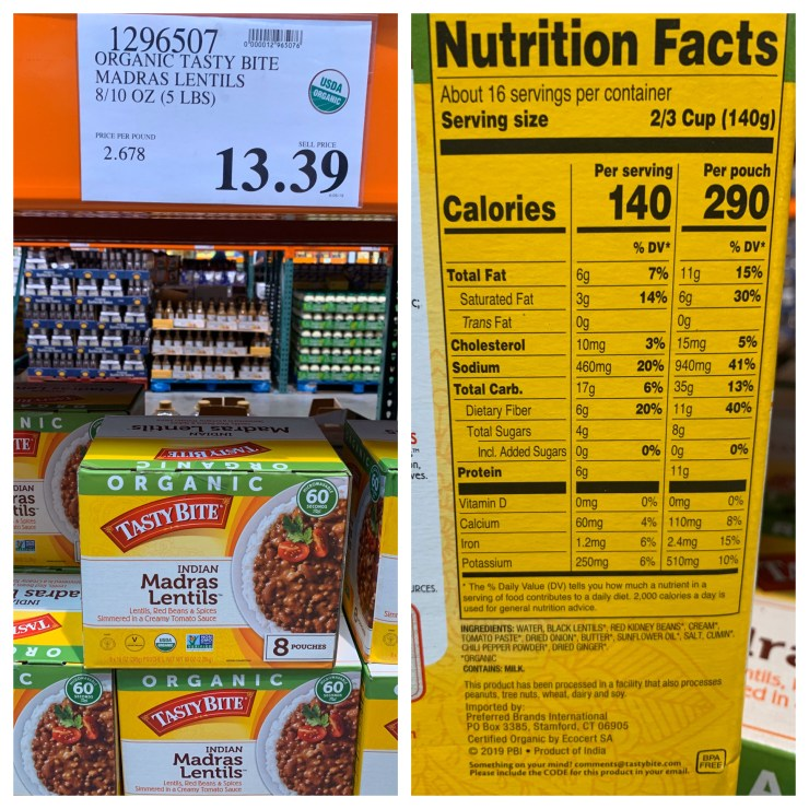 Costco Organic Tasty Bite Madras Lentils
