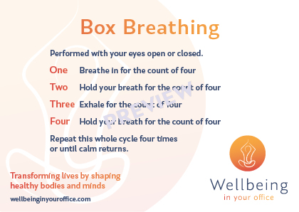 Box Breathing Postcard - Wellbeing in Your Office