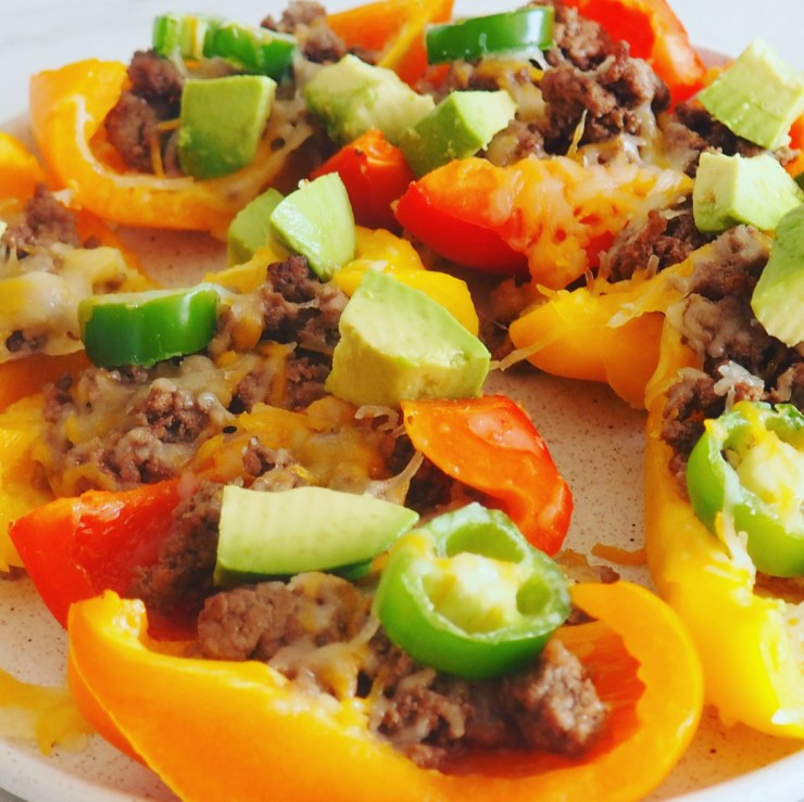 side view of bell pepper nachos with jalapenos