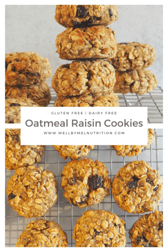 Healthy Oatmeal Raisin Cookies that are gluten free and dairy free.