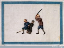 A Chinese prisoner is executed by decapitation by a guard with a sword.