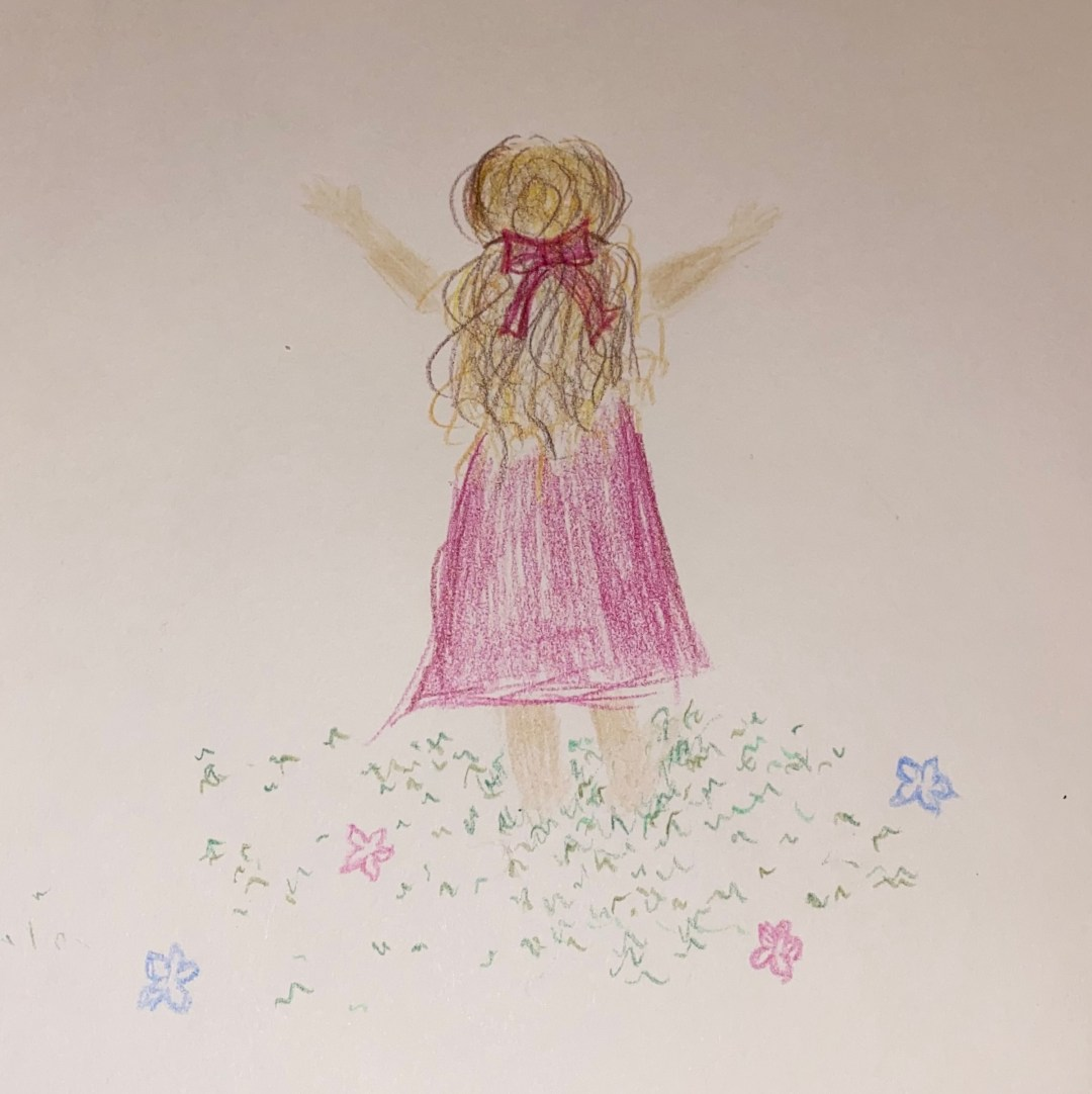 Freedom - colored pencil drawing of a young child (me) standing in grass that is sprinkled with a few flowers, facing the sun with her hands raised towards the sky
