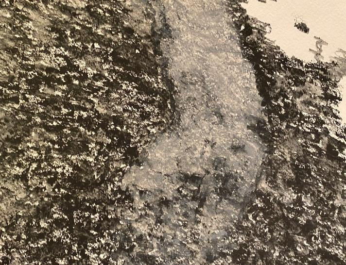 A textured black landscape with a slightly curved grey path running through the middle. There is a suggestion of a wolf's face in the path.