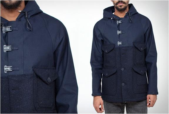 Nigel Cabourn Cameraman jacket in Macintosh upper and Harris Tweed lower parts.