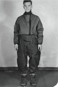 An original RAF immersion suit as used by fighter pilots when there was a risk of falling in the sea.