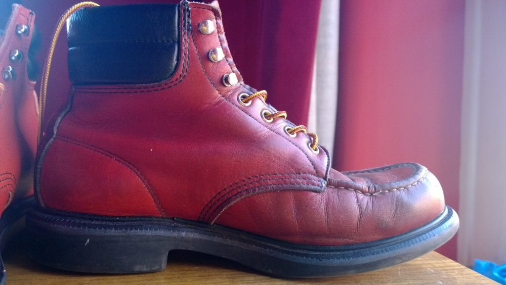 The original and classic Red Wing Supersole, battlescared and well worn.