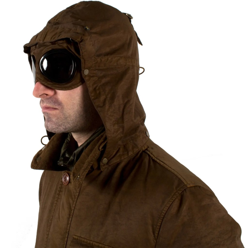 "The CP Company ""Google Jacket"" by Massimo Osti with goggles ready for action."