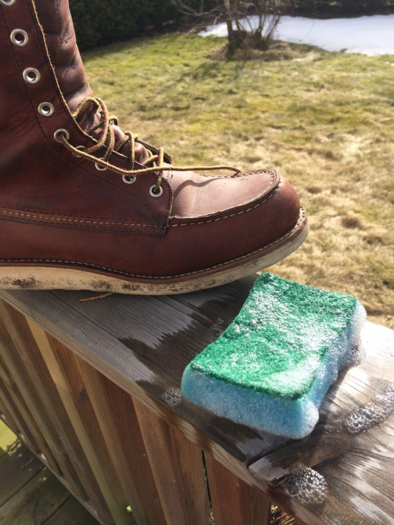 Red Wing 877 with dirty Christy soles, a soapy brillo pad and a fine, sunny Spring morn
