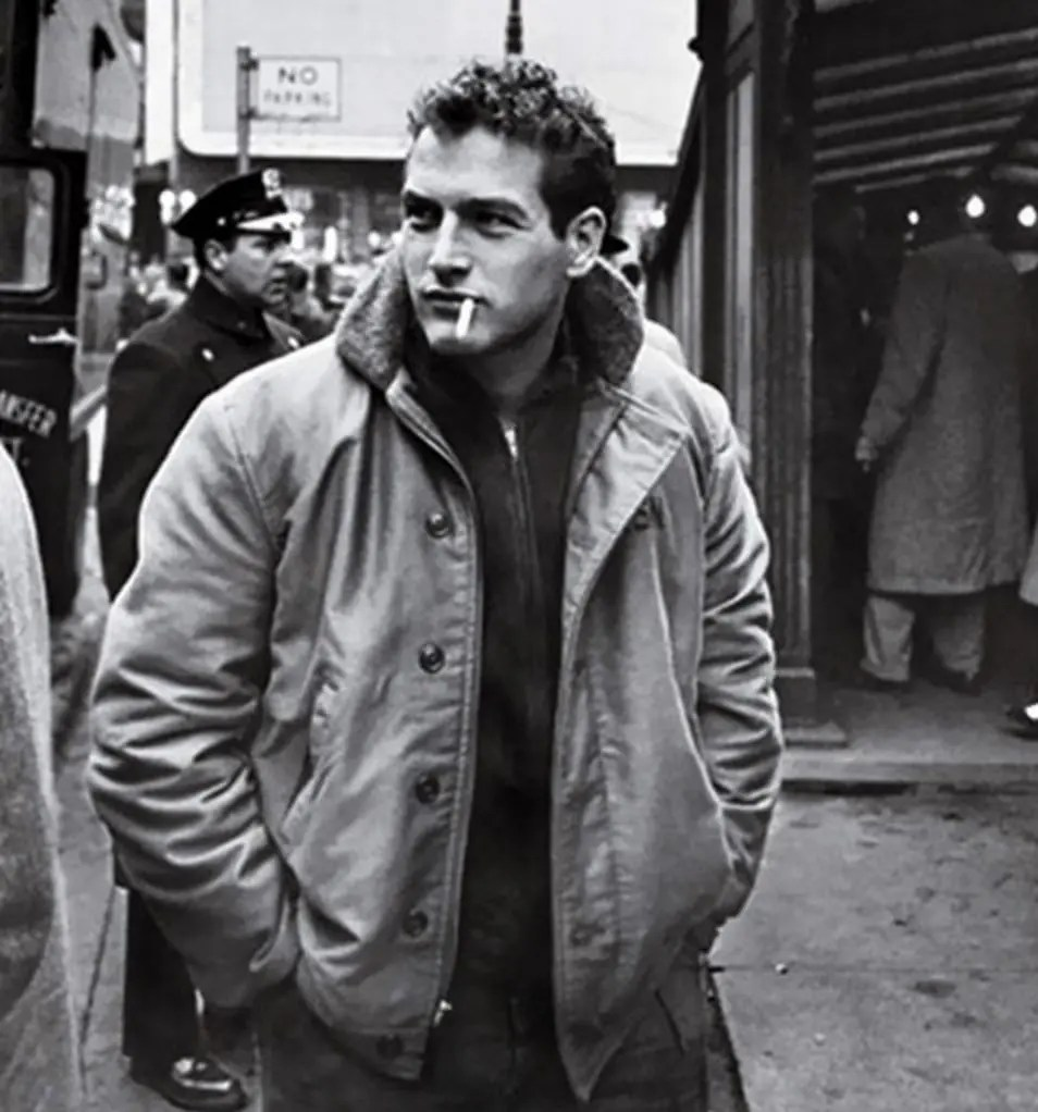 Paul Newman looking suitable iconic in his deck jacket.