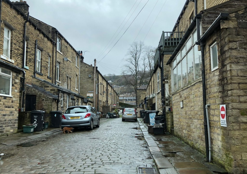 "The typical Yorkshire street where the main character in ""Happy Valley"" lives."