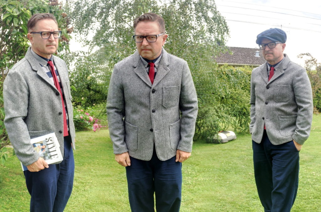 The brothers showing three ways to style the Gloverall Hawthorn blazer in Moon tweed.