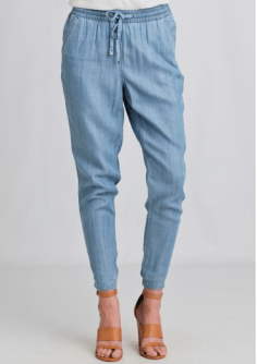 "The Jogger jean, a new trend we're seeing this spring, combines the relaxed fit of a lounge pant and the classic denim style. Better than the ""jeggings"" we saw last year?? I definitely think so. Check out these Path Ahead Chambray Pants at Ruche.com http://bit.ly/1CLfXJY"