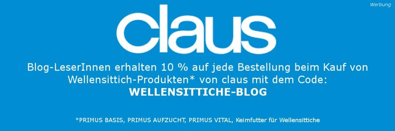 Werbeanzeige der Firma claus mit 10 % Rabattcode für Wellensittichprodukte