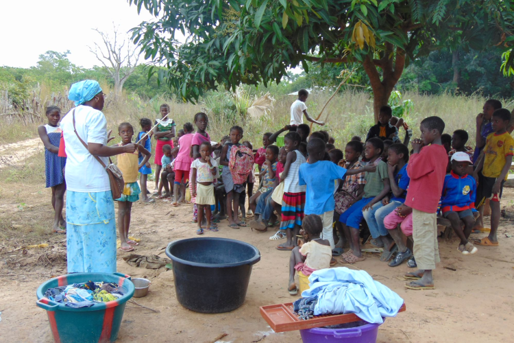 A Group of children being taught in Guinea-Bissau with help from Operation WellFound Volunteer