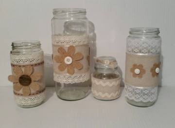 Set of 4 Upcycled Decorated Jars (Donated by Dottys Crafty Corner)