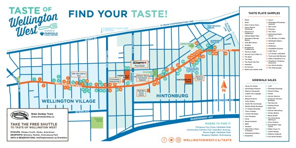 All samples and sidewalk sales listed and mapped along the entire Wellington Street West corridor.
