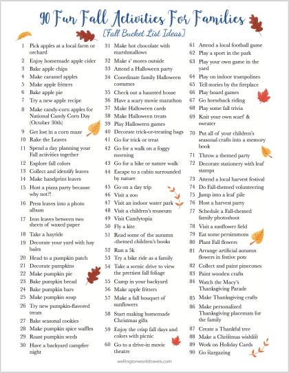 Fun Fall Activities for Families [Fall Bucket List Ideas]