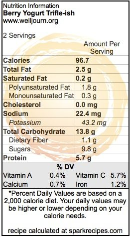 Berry Yogurt Trifle-ish - Nutrition Information