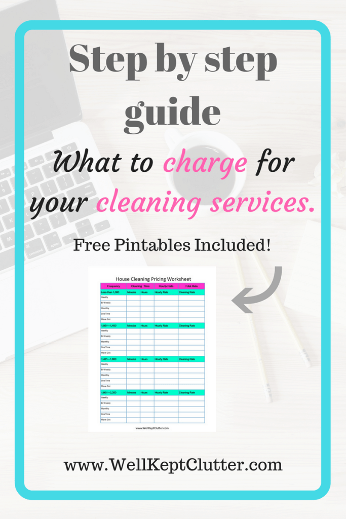 Creating a price list for your cleaning services.  What to charge for your Cleaning Services.