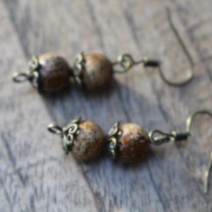 Oorbellen Bronze & Bruine Jaspis