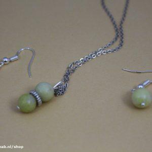 ketting & oorbellen setje Yellow Jade