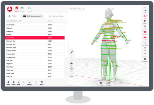 the styku app gives professionals the ability to perform a full body scan view 3d models extract measurements track changes in body shape