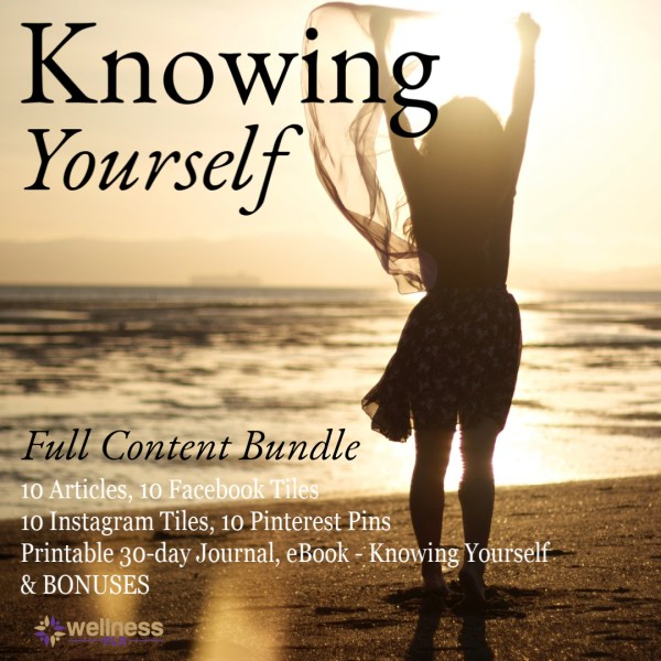 Figure of woman standing on the beach looking towards the ocean with her hands in the air. Title of Knowing Yourself and Full content bundle