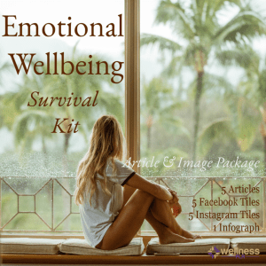 lady sitting on a bench looking out onto a lush garden. Emotional-wellbeing survival kit PLR