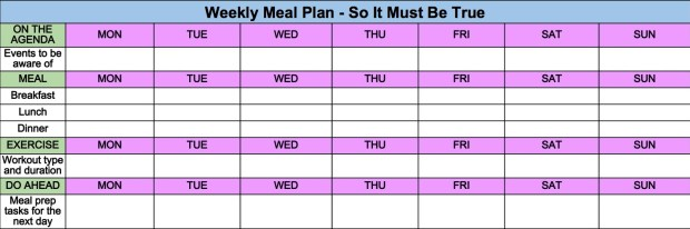 Weekly Meal Plan Template & Tips from So It Must Be True