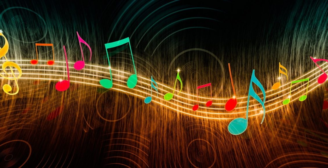 blog picture of musical notes glowing on a glowing staff