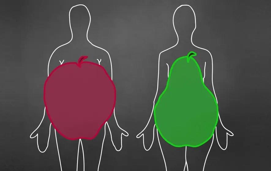 forma de cuerpo de manzana y pera