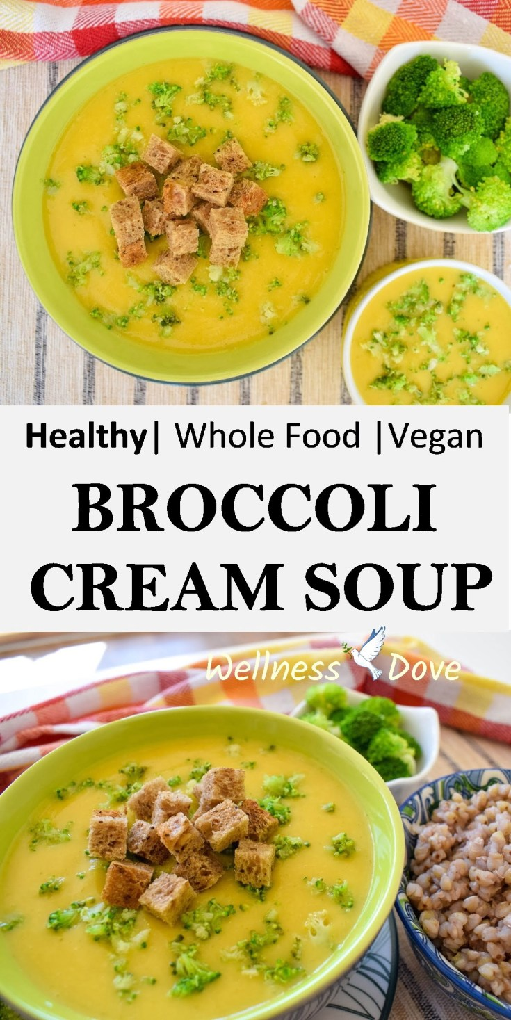 Quick and easy Broccoli Cream Soup!  A plant-based recipe, without any added oils!  Super healthy and tasty broccoli soup recipe!  It takes no time in the kitchen. Easy to make, ready in just 20 minutes!