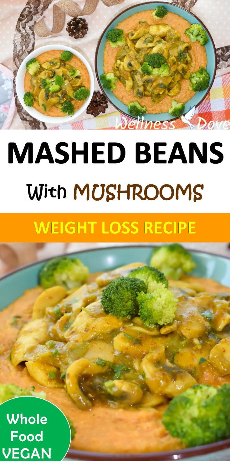 Mashed Beans with Mushrooms, Oil-free | Vegan