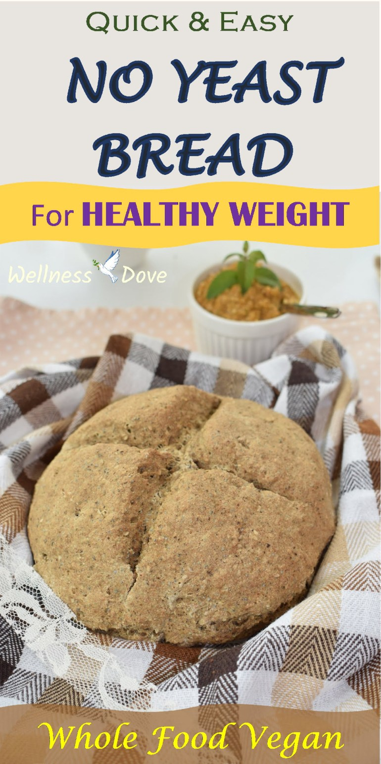 Super easy and quick no yeast bread recipe! Only whole plant food ingredients are used to make it super healthy. That means no processed flour or oil in the recipe but still this healthy bread has a soft texture and is really tasty. It is ready in no time, without waiting for it to raise. Super quick and easy.