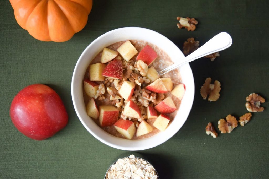 maple apple & walnut oatmeal far shot