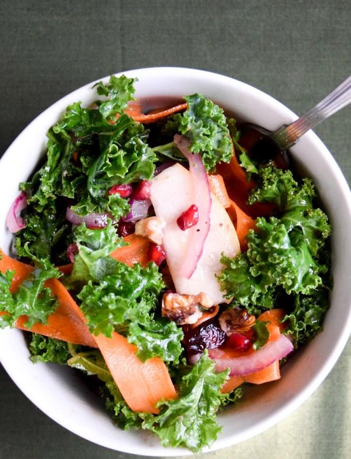 Kale, Pear, & Walnut Salad with Pomegranate Vinaigrette