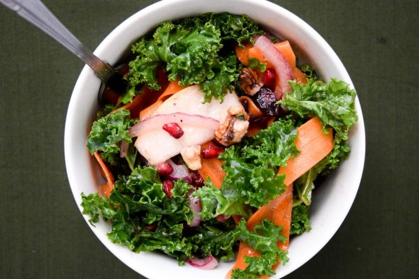 kale pear onion walnut salad carrot pomegranate vinaigrette easy Thanksgiving side dishes