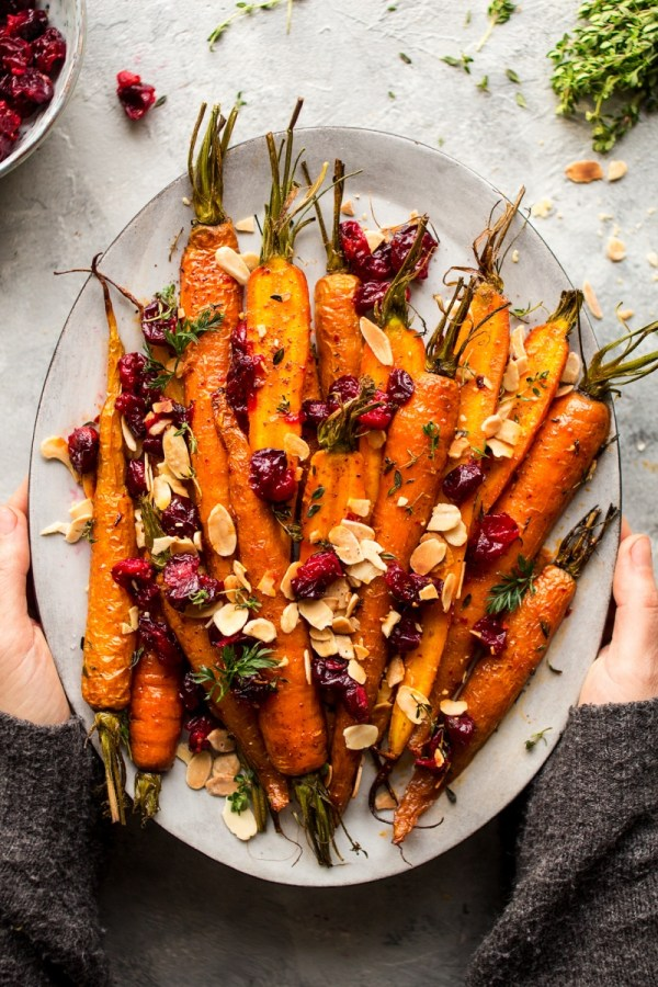 maple roasted carrots platter