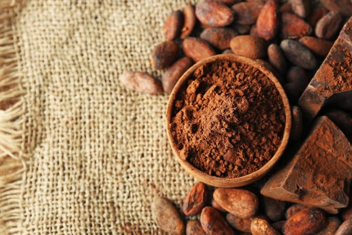 Bowl with aromatic cocoa powder