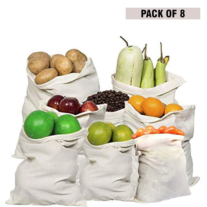 Reusable Eco-Friendly Washable Organic Cotton Mesh Produce Fridge Storage Bag