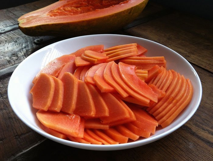 Papaya for Dogs to be Chopped into Large Pieces with no traces of Seeds.
