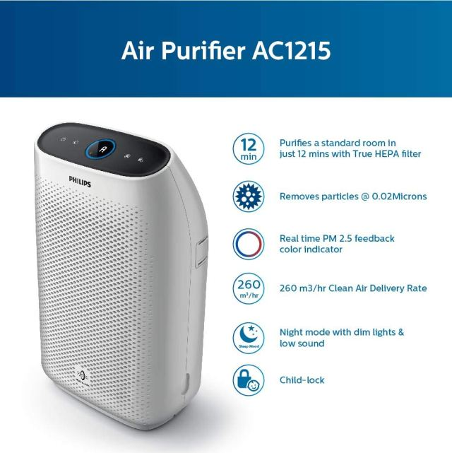 Philips AC1215/20 Air purifier, removes 99.97% airborne pollutants with 4-stage filtration for Healthy Home