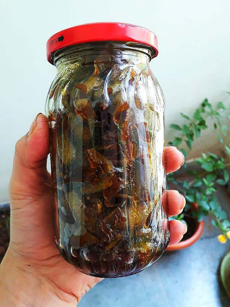 Homemade Recipe of Raw Mango Peel Achar - store in a glass jar