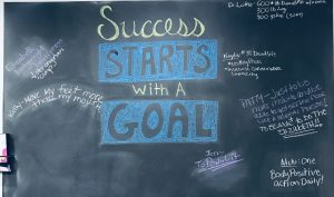 """Chalkboard that says """"success starts with a goal"""""""