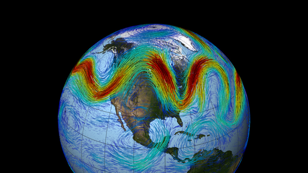 Visualization of a very wavy Northern Hemisphere jet stream. (NASA)