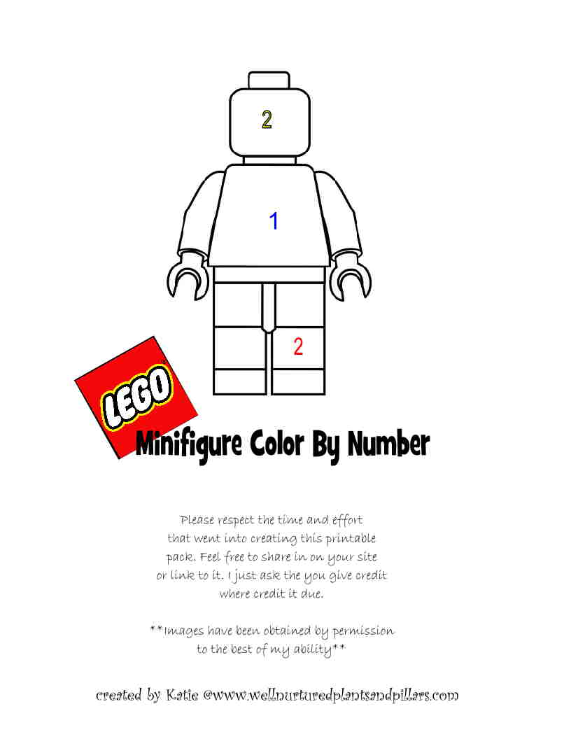 Freebie Friday- Lego Themed Color By Number Printables